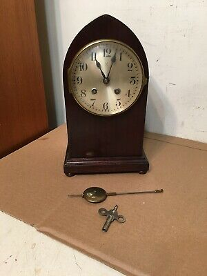 Antique Hamburg American Wurttemberg Cathedral Arch Beehive Style Mantle Clock