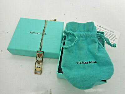 Tiffany & Co. Sterling Silver 3 Triple Heart Bar Pendant Necklace