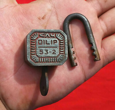 1930 Vintage Old  Rare Unique Opening System Dilip Regd. 16629 Iron Padlock Lock