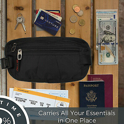 RFID Nylon Security Travel Money Belt, with Adjustable Quick Release Buckle