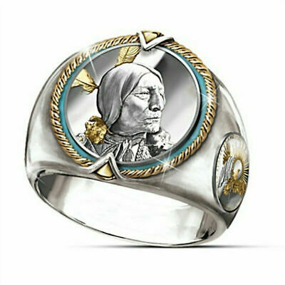 925 Silver Men Two Tone Indian Jewelry Mens Hip Hop Viking Eagle Ring Size 7-12