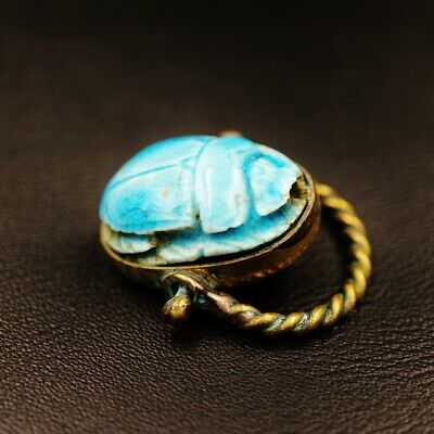 Unique Antique Copper Ring with Glazed Scarab Beetle Amulet of Ancient Egyptian