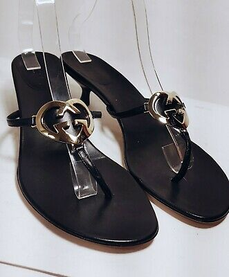 GUCCI black leather gold GG Logo Kitten Heel Thongs Women's US Size 9B *XLNT*