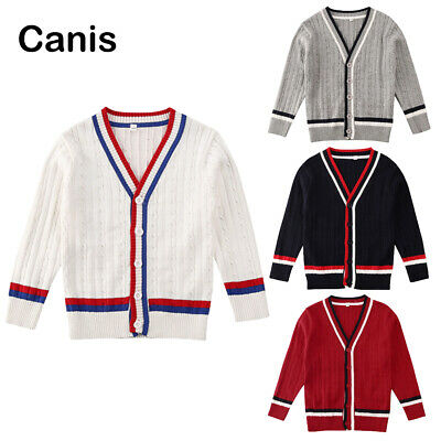 AU Kids Girl Boy Cardigan Outwear Sweater Coat Autumn Winter Jacket Clothes 2-7T