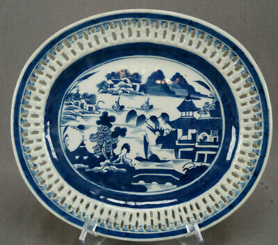 Chinese Export Porcelain Canton Undertray for Chestnut Basket Circa 1820s