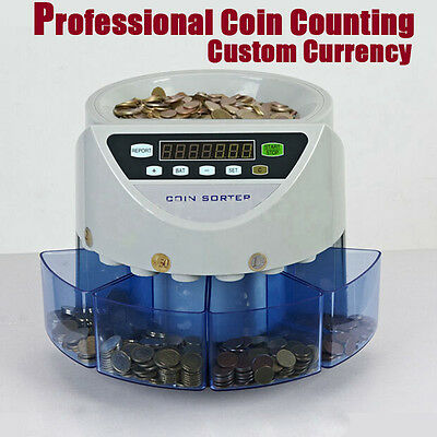 Auto Electronic Money Coin Cash Currency Counter Counting Sorter Machine