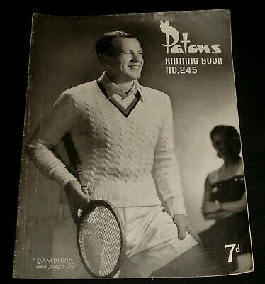 VINTAGE 1940s PATONS KNITTING BOOK # 245  MENS TOPS
