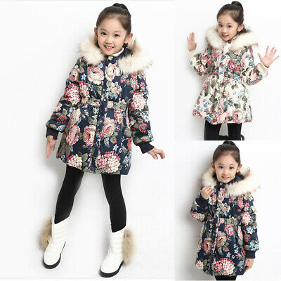 Girls Kids Padded Thick Parka Floral Warm Jacket Hooded Coat Winter Snowsuit