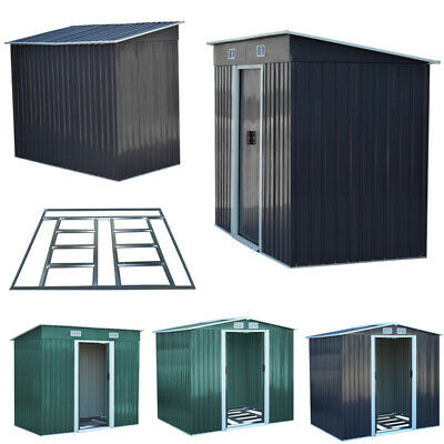 5 Size Metal Garden Shed Outdoor Patio Storage House Tool Sheds with Free Base