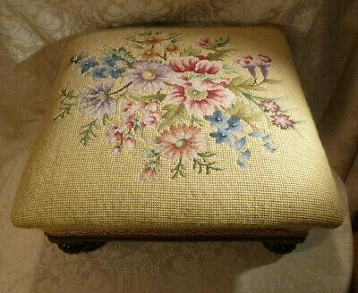 Antique Footstool Fluted Bun Feet Victorian Needlepoint Woolwork Upholstery Seat