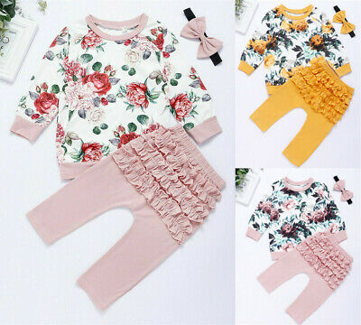Newborn Baby Girl Infant Clothes Ruffle Tops Pants Kids Outfits Set Tracksuit