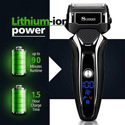 Mens Waterproof Electric Cordless Rechargeable Foil Shaver Trimmer Wet Dry Razor
