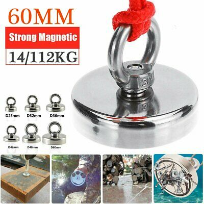 112KG Salvage Strong Recovery Magnet Neodymium Hook Treasure Hunting Fishing
