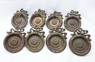 19th century French ormolu drawer pulls Set 8 circular gilt brass drawer handles