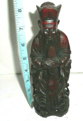 Detailed Japanese Asian Hand Carved Wooden Statue 8'' Tall     PLZ READ