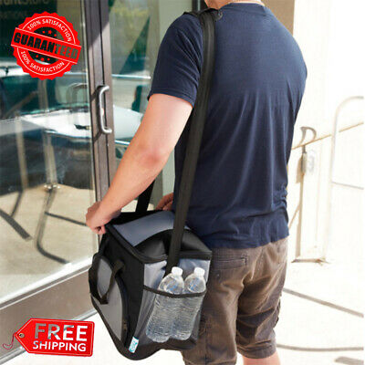 Insulated Leak Proof Cooler Bag 24 Can Ice Pack Lunch Container Adjustable Strap