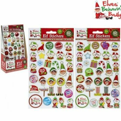 CHRISTMAS NAUGHTY ELF PROP PUFFY STICKERS x30 ARTS & CRAFT ELVES BEHAVIN BADLY