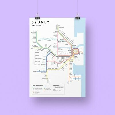 Sydney City Train Rail and Metro Map Print Card in A5 size - 1 pack of 2