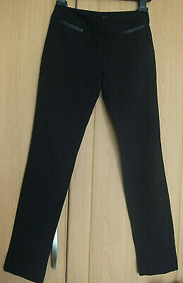 NEW LOOK VGC age 9 yrs slim fit easy care black school style trousers + stretch