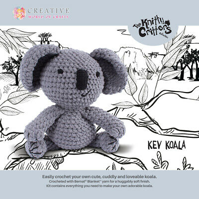 The Knitty Critters Crochet KEV KOALA Kit New Including Hook and Wool