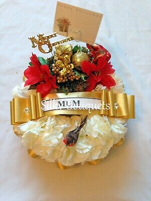 Christmas Wreath Ring Artificial Silk Funeral Flower Memorial Tribute Gold Robin