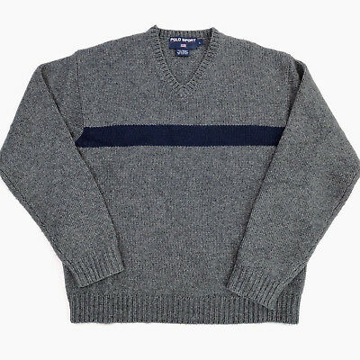 Polo Sport Ralph Lauren Mens Size LargeThick Knit Crew Neck Sweater Lambs Wool