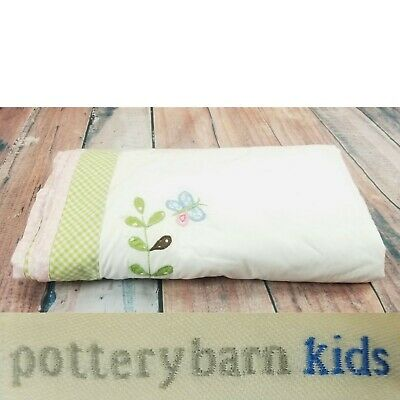 Pottery Barn Kids Hayley Collection Crib Skirt Embroidered Butterflies Organic