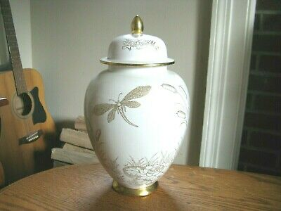 "Carlton Ware England 11"" Dragonfly Meadow Covered Jar"