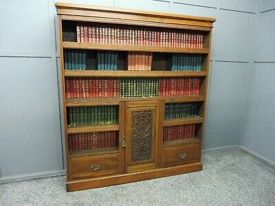 Antique Victorian Walnut Bookcase Circa 1890