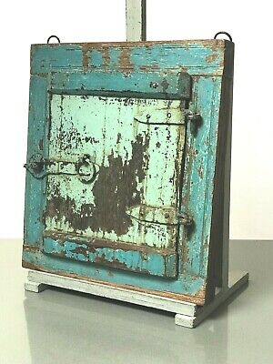 Antique Vintage Indian Reclaimed Shuttered Window Mirror. Pale Blue & Turquoise.