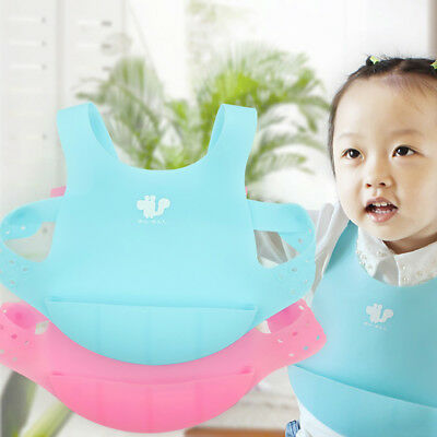 Ee_ Qa_ Kids Toddler Soft Silicone Adjustable Waterproof Smock Bibs Feeding Apro
