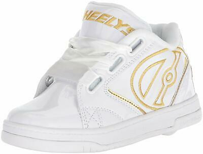 Heelys Boys HE100180 Fabric Low Top Lace Up Fashion, White/Gold Satin, Size 5.0