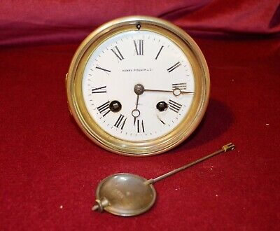Antique Victorian Brevete Clock Movement & Original Pendulum Spare or repairs