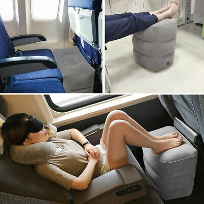 Inflatable Foot Rest Air Pillow Cushion Leg Up Footrest Travel Office Home X7R8U