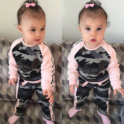 EE_ QA_ LK_ HK- 2pcs Toddler Baby Kid Girls Camouflage Pullover Pants Outfit Clo