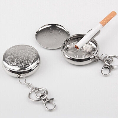 EE_ Creative Round Cigarette Keychain Portable Stainless Steel Pocket Ashtray