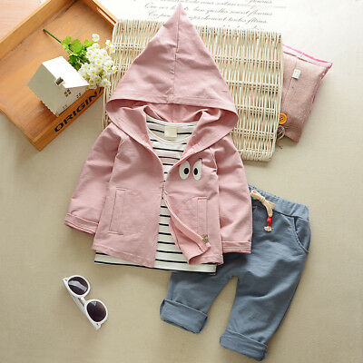 EE_ EG_ Baby Boys Girls Clothing Set Autumn Hoodies Outerwear Pants Shirt Outfit