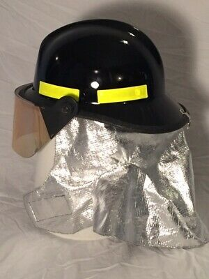 Firefighter Helmet Black with Gold Face Shield Brand new Cairns and Brother