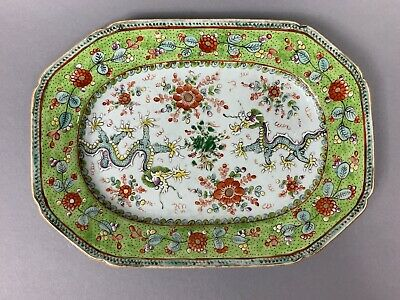 18th Century Qianlong Chinese Meat Plate Dragons / 1736 - 1795