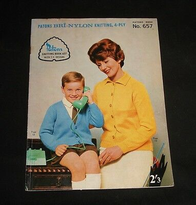 VINTAGE 1960s PATONS KNITTING PATTERN  BOOK #657 Family Jumpers Cardigans etc