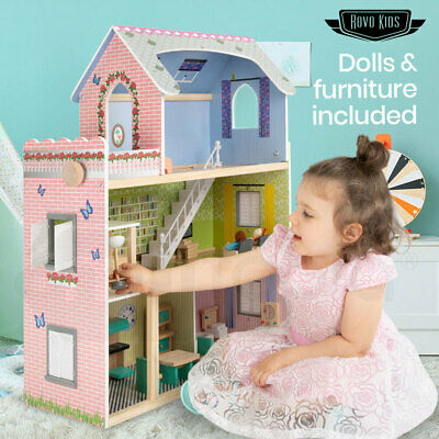 ROVO KIDS Dollhouse Dream Dolls Doll House Girls Wooden Furniture Pink Mansion
