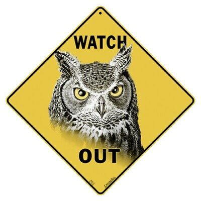 Watch Out Owl Crossing Sign NEW 12x12 Metal Bird Great Horned