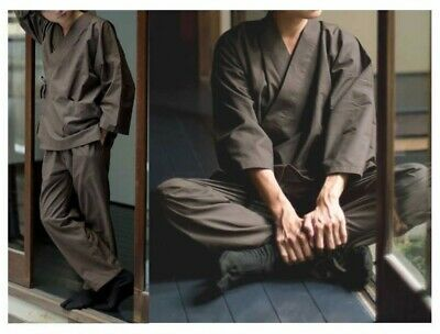 Japanese Unisex All Season Work Wear Samue Kimono Brown From Japan with Tracking