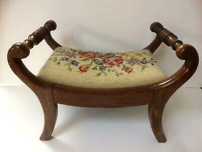 Quaint 19Th C. Mahogany Footstool Covered In Needlework Needlepoint Tapestry.
