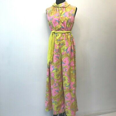 Vintage 1970s Palazzo Jumpsuit Pink Yellow Floral size XL Belted Sleeveless P4