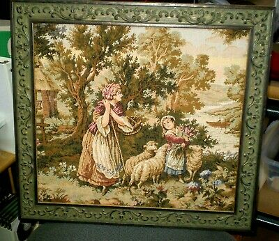 Vintage Framed Needlepoint Art Pastoral Scene Country Home On The Water