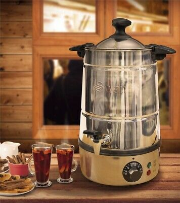 Swan Mulled Wine Urn 5L 20 Cups Simmerstat Control Water Boiler Stainless Steel