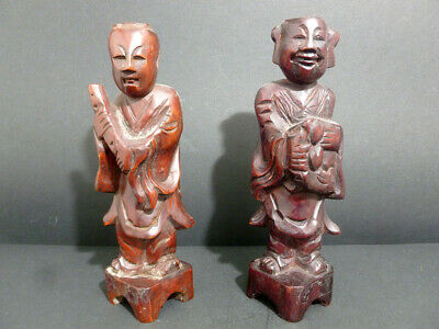 Antique Authentic Chinese Red Wood Hand Caver Lot Of2 Striking Pics Old Man 7660