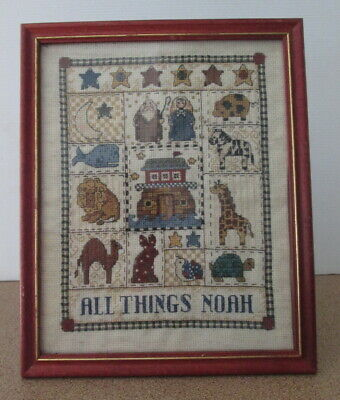 Vintage Needlework Completed Framed All Things Noah Animal;s