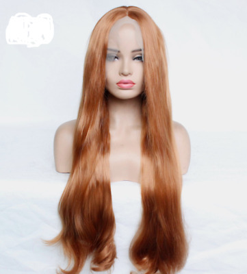 Natural wave long synthetic front lace wig Sexy claybank dark honey blonde